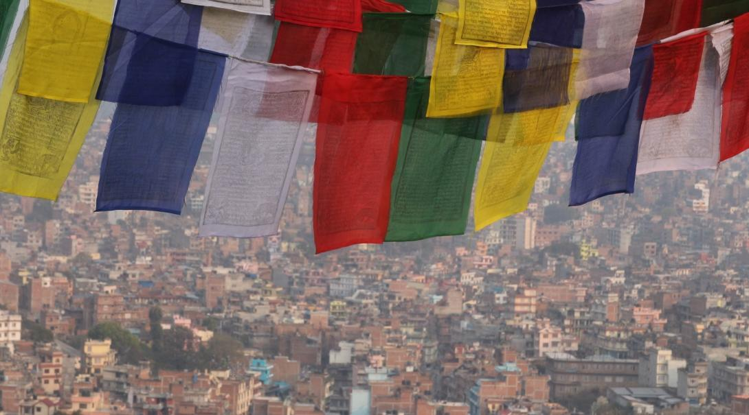 Projects Abroad HIV/AIDS volunteers in Nepal travel over the weekends and take a photo of prayer flags.